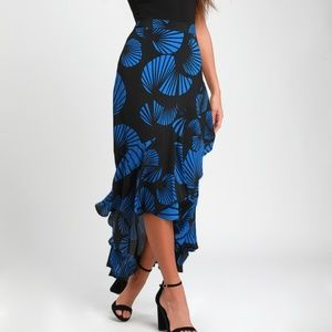 NWT Lucy Love Black & Blue Flamenco High-Low Skirt